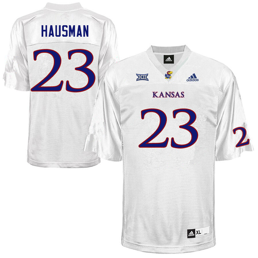 Men #23 Malik Hausman Kansas Jayhawks College Football Jerseys Sale-White